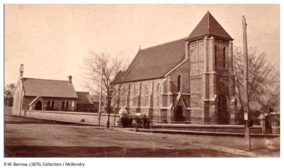 This late 1870s photograph of St. Paul's Church by photographer Richard W. Barrow shows not only the church but the Sunday School (1872) and the wall on Montreal Street and along Queen Street. (Coll. of J. McKendry)