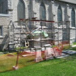 Forsyth Monument under restoration in Kingston's Lower Burial Ground