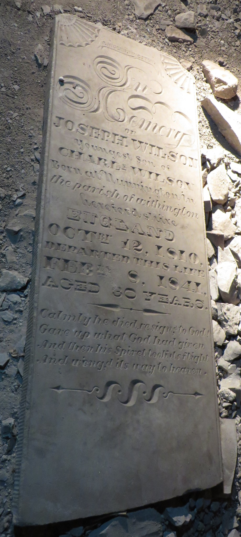 Marker for Joseph Wilson, under the church hall (Credit Mary Davis Little)