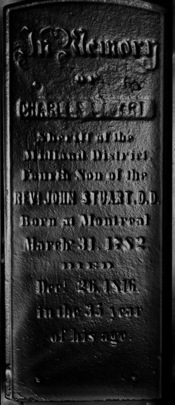 Reflectance transformation image of marker for Charles Stuart, son of Rev Dr. John Stuart